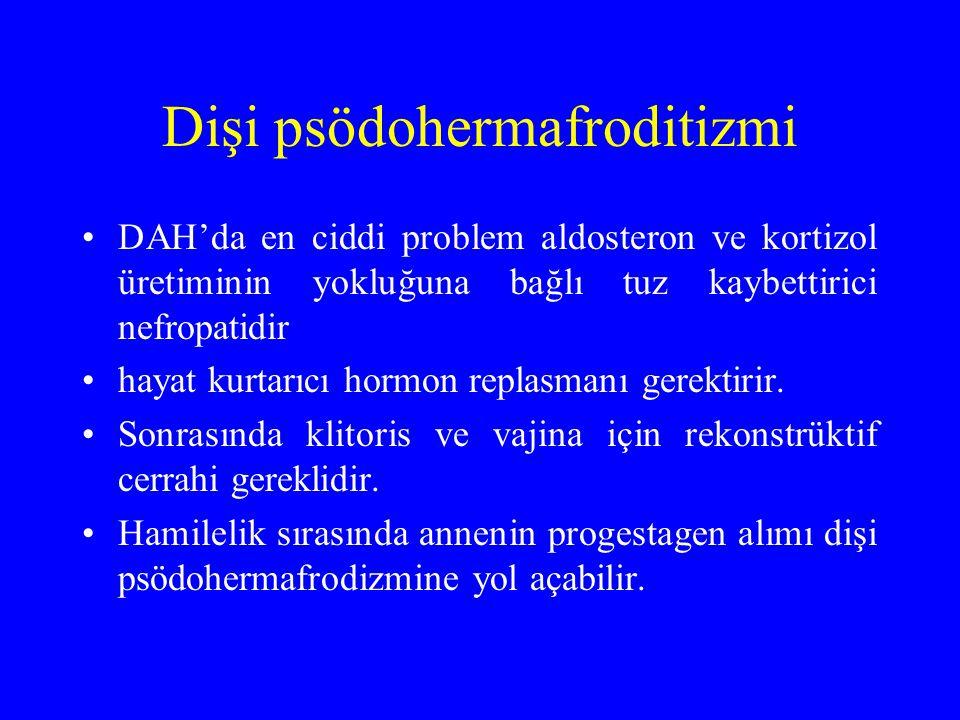 Dişi psödohermafroditizmi DAH'da en ciddi problem aldosteron ve kortizol üretiminin yokluğuna bağlı tuz kaybettirici nefropatidir hayat kurtarıcı horm