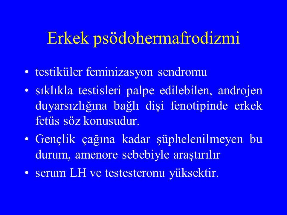 Erkek psödohermafrodizmi testiküler feminizasyon sendromu sıklıkla testisleri palpe edilebilen, androjen duyarsızlığına bağlı dişi fenotipinde erkek f