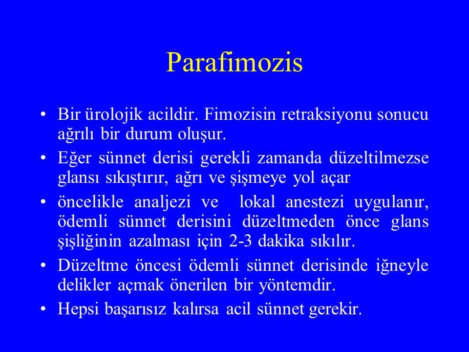 Parafimozis Bir ürolojik acildir. Fimozisin retraksiyonu sonucu ağrılı bir durum oluşur. Eğer sünnet derisi gerekli zamanda düzeltilmezse glansı sıkış
