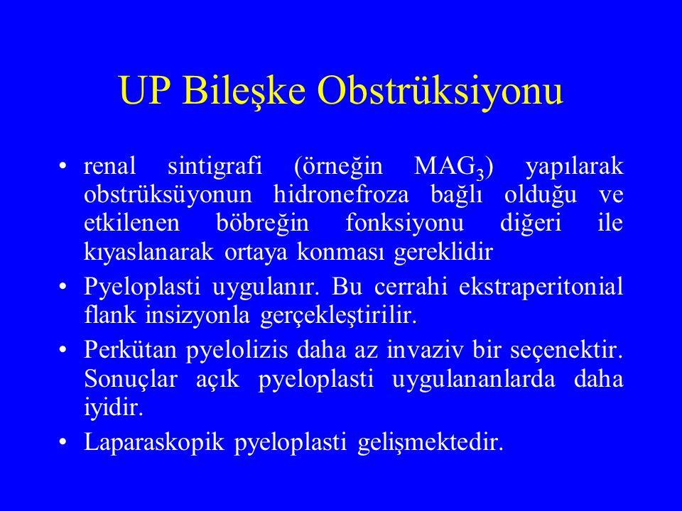 UP Bileşke Obstrüksiyonu renal sintigrafi (örneğin MAG 3 ) yapılarak obstrüksüyonun hidronefroza bağlı olduğu ve etkilenen böbreğin fonksiyonu diğeri