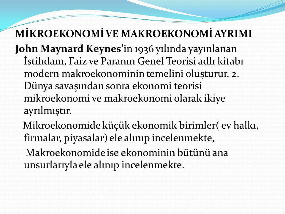 MİKROEKONOMİ VE MAKROEKONOMİ AYRIMI John Maynard Keynes'in 1936 yılında yayınlanan İstihdam, Faiz ve Paranın Genel Teorisi adlı kitabı modern makroeko