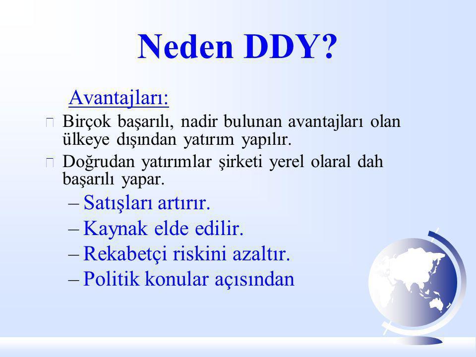 Neden DDY? Avantajları:  Birçok başarılı, nadir bulunan avantajları olan ülkeye dışından yatırım yapılır.  Doğrudan yatırımlar şirketi yerel olaral