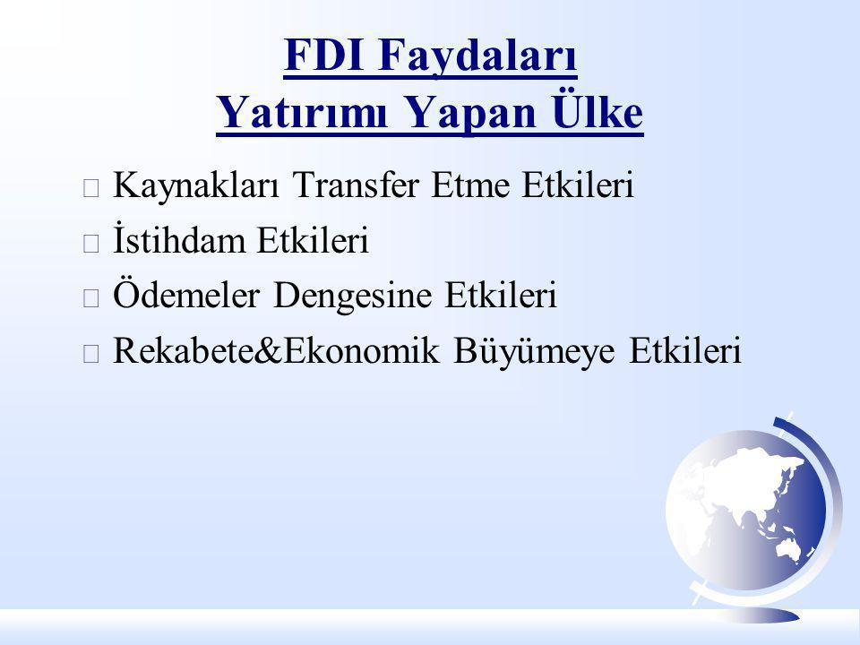 FDI Faydaları Yatırımı Yapan Ülke  Kaynakları Transfer Etme Etkileri  İstihdam Etkileri  Ödemeler Dengesine Etkileri  Rekabete&Ekonomik Büyümeye E