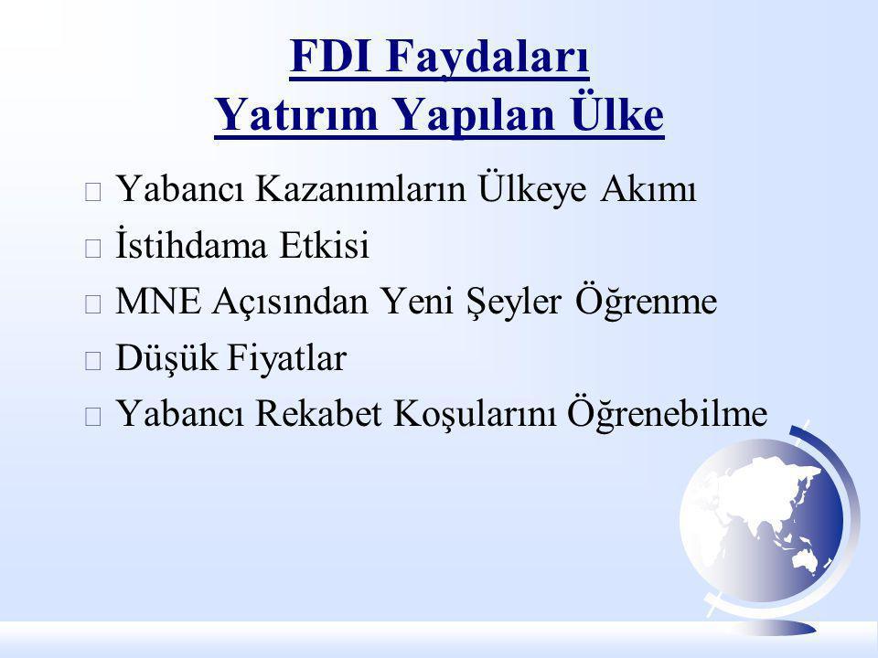 FDI Faydaları Yatırım Yapılan Ülke  Yabancı Kazanımların Ülkeye Akımı  İstihdama Etkisi  MNE Açısından Yeni Şeyler Öğrenme  Düşük Fiyatlar  Yaban