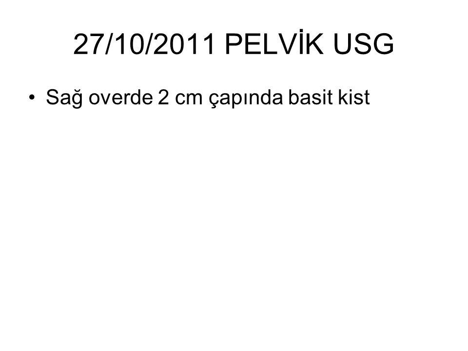27/10/2011 PELVİK USG Sağ overde 2 cm çapında basit kist