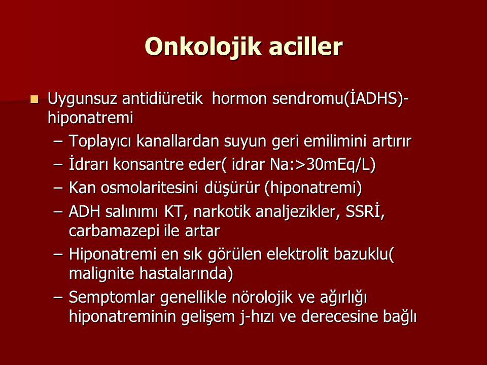 Onkolojik aciller Uygunsuz antidiüretik hormon sendromu(İADHS)- hiponatremi Uygunsuz antidiüretik hormon sendromu(İADHS)- hiponatremi –Toplayıcı kanal