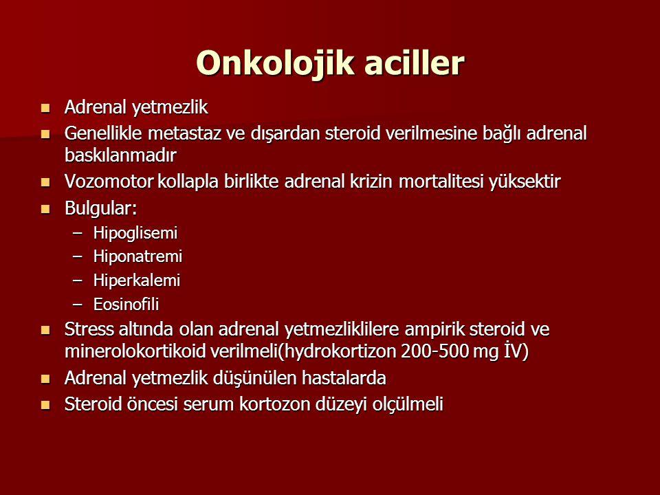 Onkolojik aciller Adrenal yetmezlik Adrenal yetmezlik Genellikle metastaz ve dışardan steroid verilmesine bağlı adrenal baskılanmadır Genellikle metas