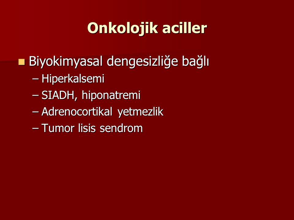 Onkolojik aciller Hiponatremi Tedavi Tedavi %3 lük SF (51 mEq sodyum/dL) %3 lük SF (51 mEq sodyum/dL) –Saatte 0,5mEq/L Na yükseltilmeli –İlk 24 saatte max 12-15 mEq/L yükseltilmeli –Tadavi sırasında volüm yükünden ve hızlı yükseltmeden kaçınılmalı –Osmotik demyelinizasyon sendromu(pontin demyelinizasyon)!!!!!.