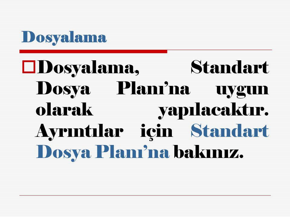 Dosyalama  Dosyalama, Standart Dosya Planı'na uygun olarak yapılacaktır.