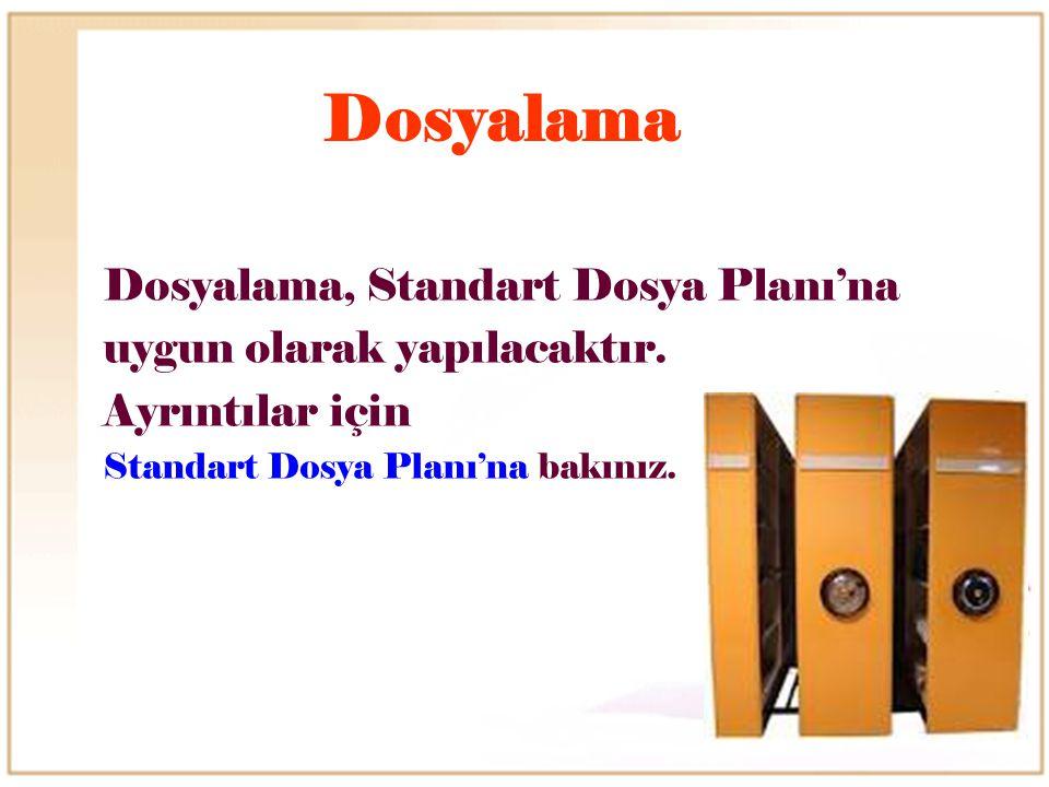 Dosyalama Dosyalama, Standart Dosya Planı'na uygun olarak yapılacaktır. Ayrıntılar için Standart Dosya Planı'na bakınız.