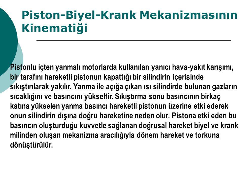 Piston-Biyel-Krank Mekanizmasının Kinematiği Pistonlu içten yanmalı motorlarda kullanılan yanıcı hava-yakıt karışımı, bir tarafını hareketli pistonun kapattığı bir silindirin içerisinde sıkıştırılarak yakılır.