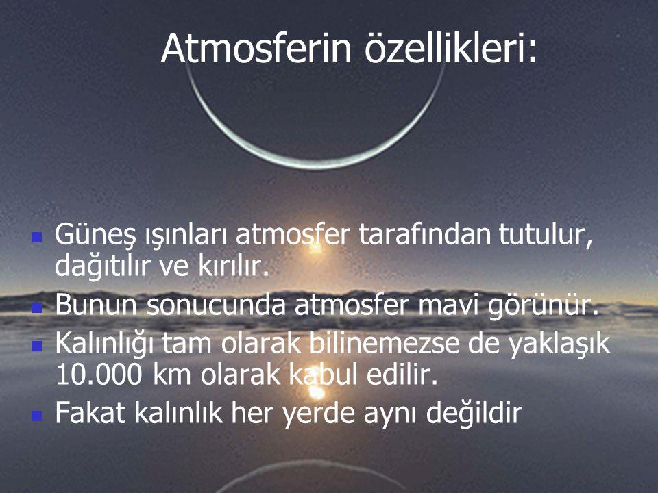 Atmosferin özellikleri: Güneş ışınları atmosfer tarafından tutulur, dağıtılır ve kırılır. Bunun sonucunda atmosfer mavi görünür. Kalınlığı tam olarak