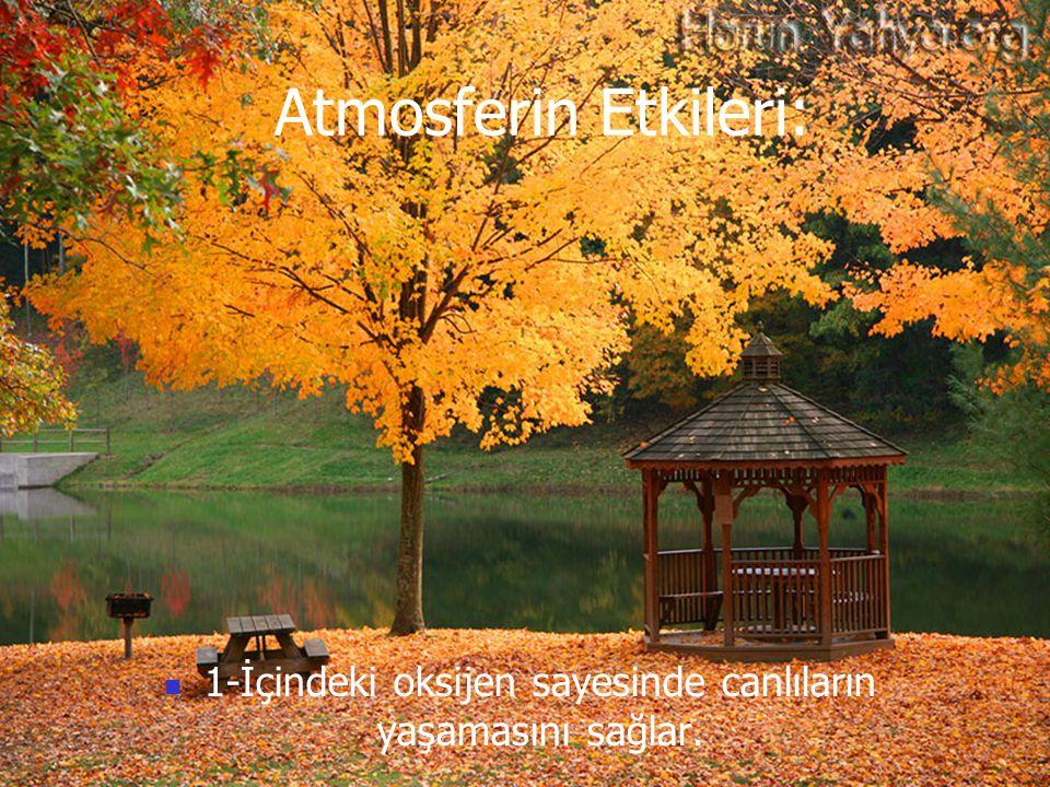 Atmosferin Etkileri: 1-İçindeki oksijen sayesinde canlıların yaşamasını sağlar.