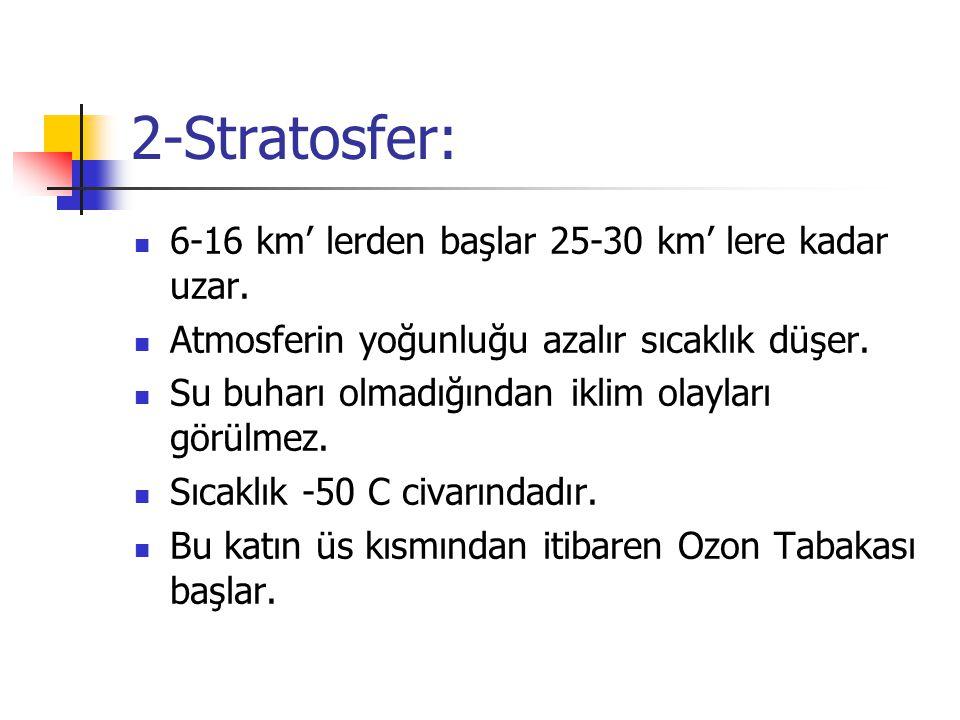 2-Stratosfer: 6-16 km' lerden başlar 25-30 km' lere kadar uzar. Atmosferin yoğunluğu azalır sıcaklık düşer. Su buharı olmadığından iklim olayları görü