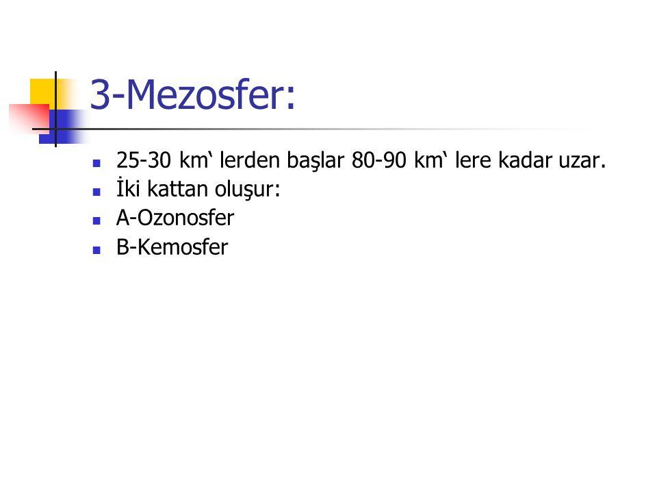 3-Mezosfer: 25-30 km' lerden başlar 80-90 km' lere kadar uzar. İki kattan oluşur: A-Ozonosfer B-Kemosfer