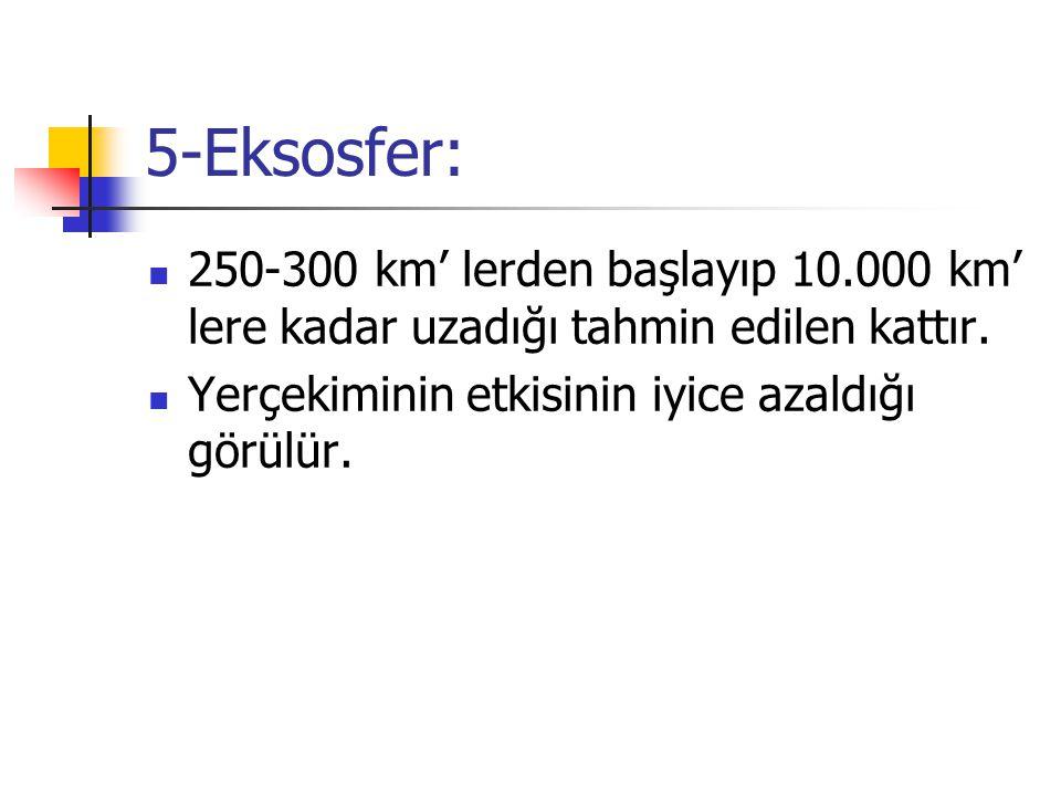 5-Eksosfer: 250-300 km' lerden başlayıp 10.000 km' lere kadar uzadığı tahmin edilen kattır. Yerçekiminin etkisinin iyice azaldığı görülür.