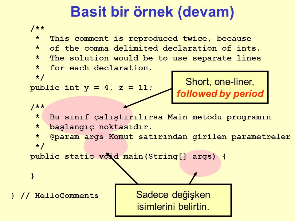 Short, one-liner, followed by period Basit bir örnek (devam) Sadece değişken isimlerini belirtin. /** * This comment is reproduced twice, because * of