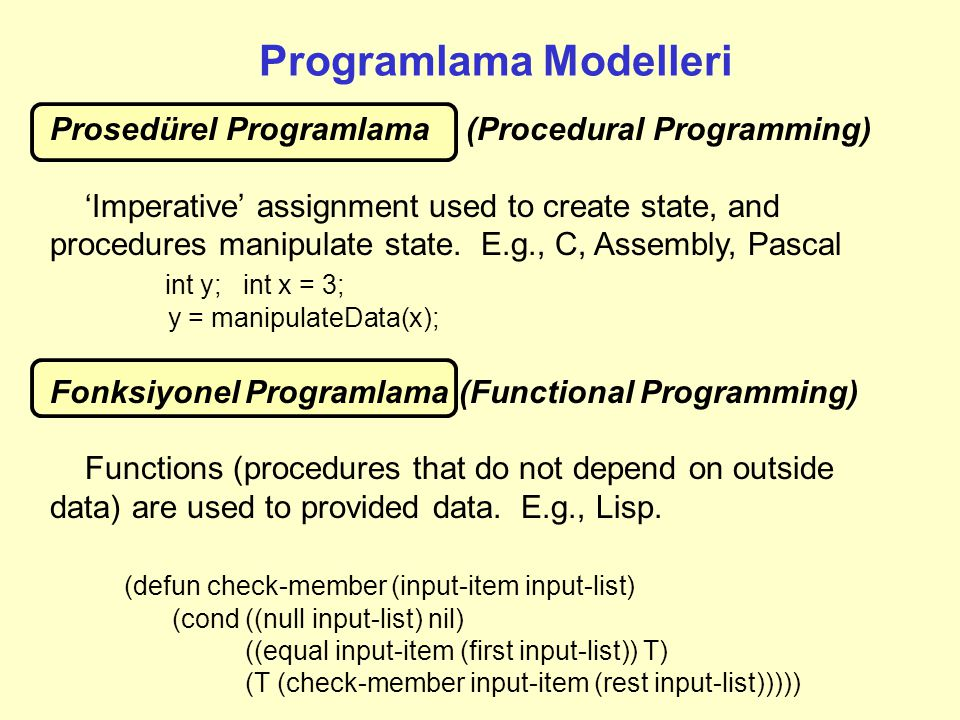 Programlama Modelleri Prosedürel Programlama (Procedural Programming) 'Imperative' assignment used to create state, and procedures manipulate state. E