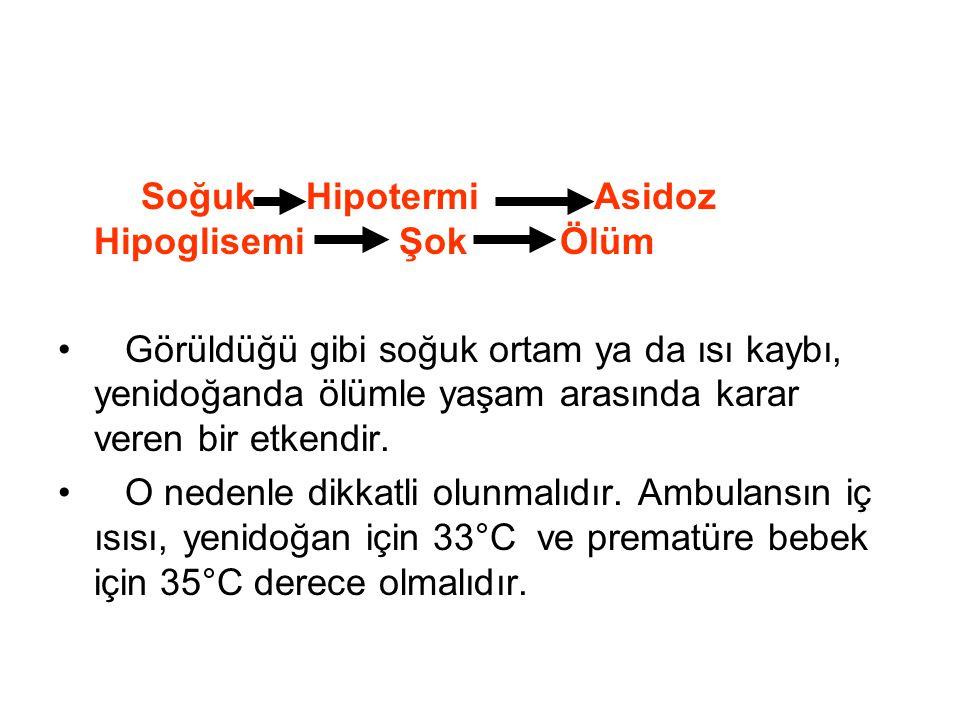 Soğuk Hipotermi Asidoz Hipoglisemi Şok Ölüm Görüldüğü gibi soğuk ortam ya da ısı kaybı, yenidoğanda ölümle yaşam arasında karar veren bir etkendir. O