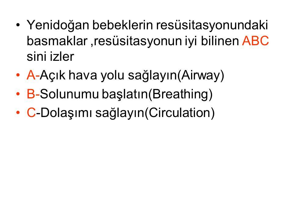 Yenidoğan bebeklerin resüsitasyonundaki basmaklar,resüsitasyonun iyi bilinen ABC sini izler A-Açık hava yolu sağlayın(Airway) B-Solunumu başlatın(Brea