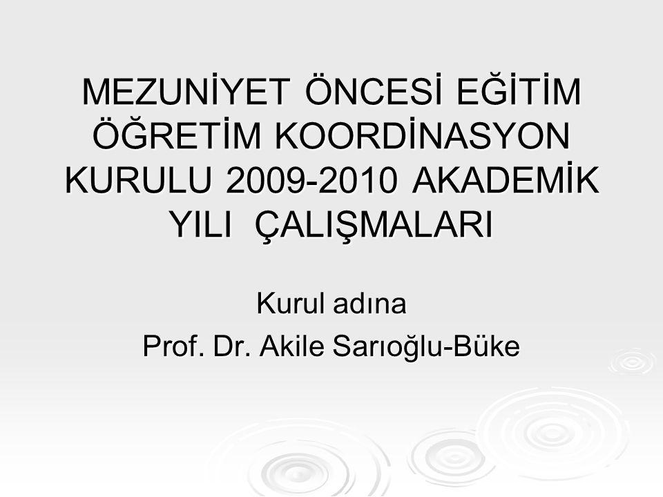 MEZUNİYET ÖNCESİ EĞİTİM ÖĞRETİM KOORDİNASYON KURULU 2009-2010 AKADEMİK YILI ÇALIŞMALARI Kurul adına Prof. Dr. Akile Sarıoğlu-Büke
