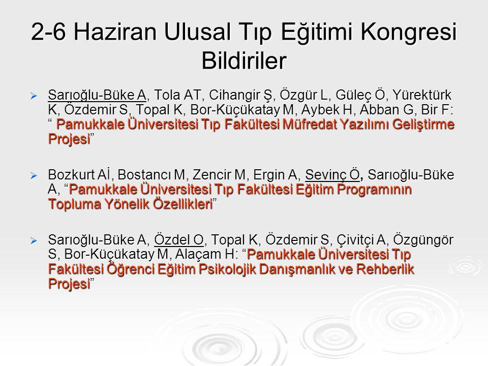2-6 Haziran Ulusal Tıp Eğitimi Kongresi Bildiriler  Sarıoğlu-Büke A, Tola AT, Cihangir Ş, Özgür L, Güleç Ö, Yürektürk K, Özdemir S, Topal K, Bor-Küçü