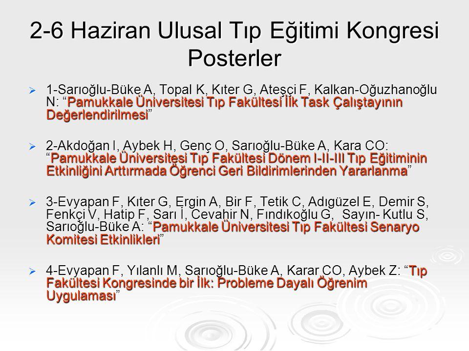 """2-6 Haziran Ulusal Tıp Eğitimi Kongresi Posterler  1-Sarıoğlu-Büke A, Topal K, Kıter G, Ateşçi F, Kalkan-Oğuzhanoğlu N: """"Pamukkale Üniversitesi Tıp F"""