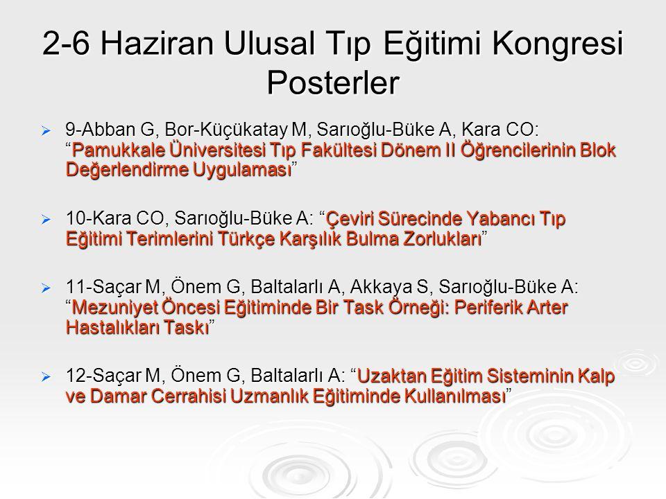 """2-6 Haziran Ulusal Tıp Eğitimi Kongresi Posterler  9-Abban G, Bor-Küçükatay M, Sarıoğlu-Büke A, Kara CO: """"Pamukkale Üniversitesi Tıp Fakültesi Dönem"""