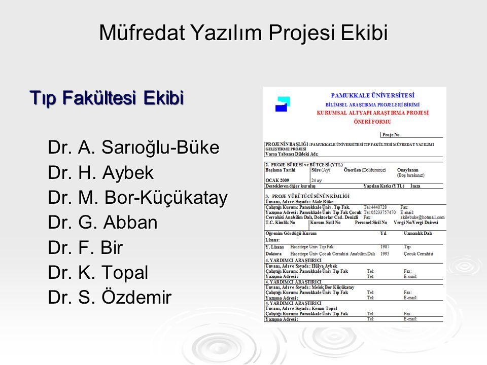 Müfredat Yazılım Projesi Ekibi Tıp Fakültesi Ekibi Dr. A. Sarıoğlu-Büke Dr. H. Aybek Dr. M. Bor-Küçükatay Dr. G. Abban Dr. F. Bir Dr. K. Topal Dr. S.