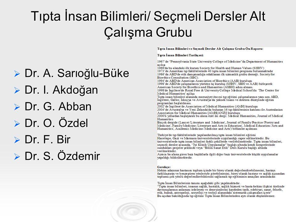 Tıpta İnsan Bilimleri/ Seçmeli Dersler Alt Çalışma Grubu  Dr. A. Sarıoğlu-Büke  Dr. I. Akdoğan  Dr. G. Abban  Dr. O. Özdel  Dr. F. Bir  Dr. S. Ö