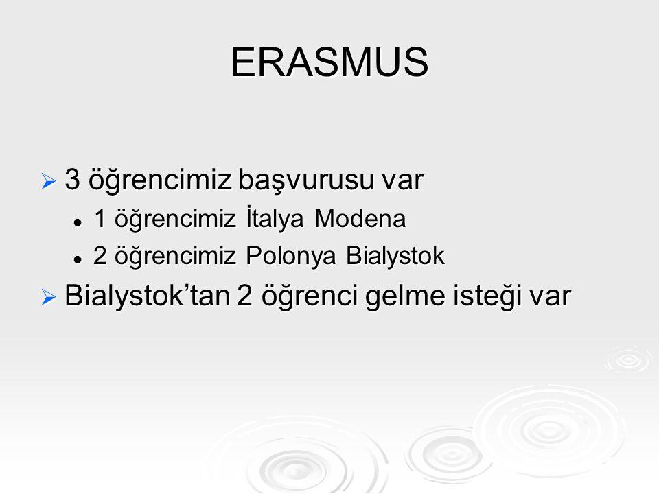 ERASMUS  3 öğrencimiz başvurusu var 1 öğrencimiz İtalya Modena 1 öğrencimiz İtalya Modena 2 öğrencimiz Polonya Bialystok 2 öğrencimiz Polonya Bialyst