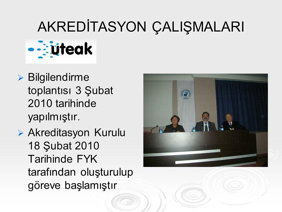 AKREDİTASYON ÇALIŞMALARI  Bilgilendirme toplantısı 3 Şubat 2010 tarihinde yapılmıştır.  Akreditasyon Kurulu 18 Şubat 2010 Tarihinde FYK tarafından o