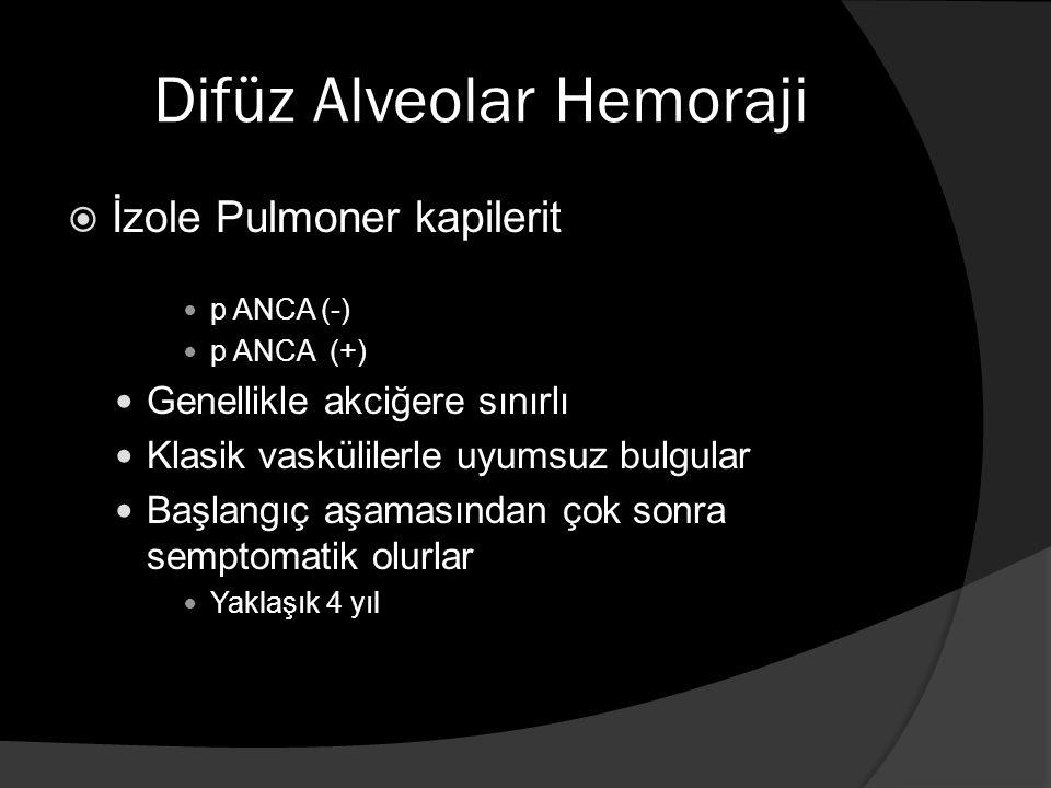Difüz Alveolar Hemoraji  İzole Pulmoner kapilerit p ANCA (-) p ANCA (+) Genellikle akciğere sınırlı Klasik vaskülilerle uyumsuz bulgular Başlangıç aşamasından çok sonra semptomatik olurlar Yaklaşık 4 yıl