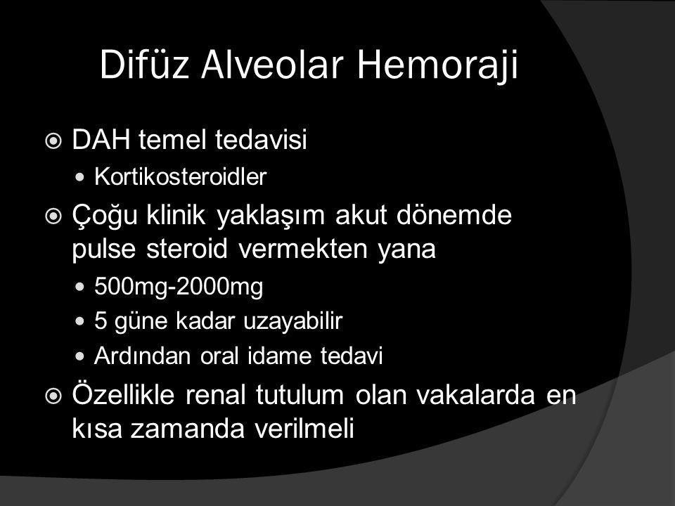Difüz Alveolar Hemoraji  DAH temel tedavisi Kortikosteroidler  Çoğu klinik yaklaşım akut dönemde pulse steroid vermekten yana 500mg-2000mg 5 güne kadar uzayabilir Ardından oral idame tedavi  Özellikle renal tutulum olan vakalarda en kısa zamanda verilmeli