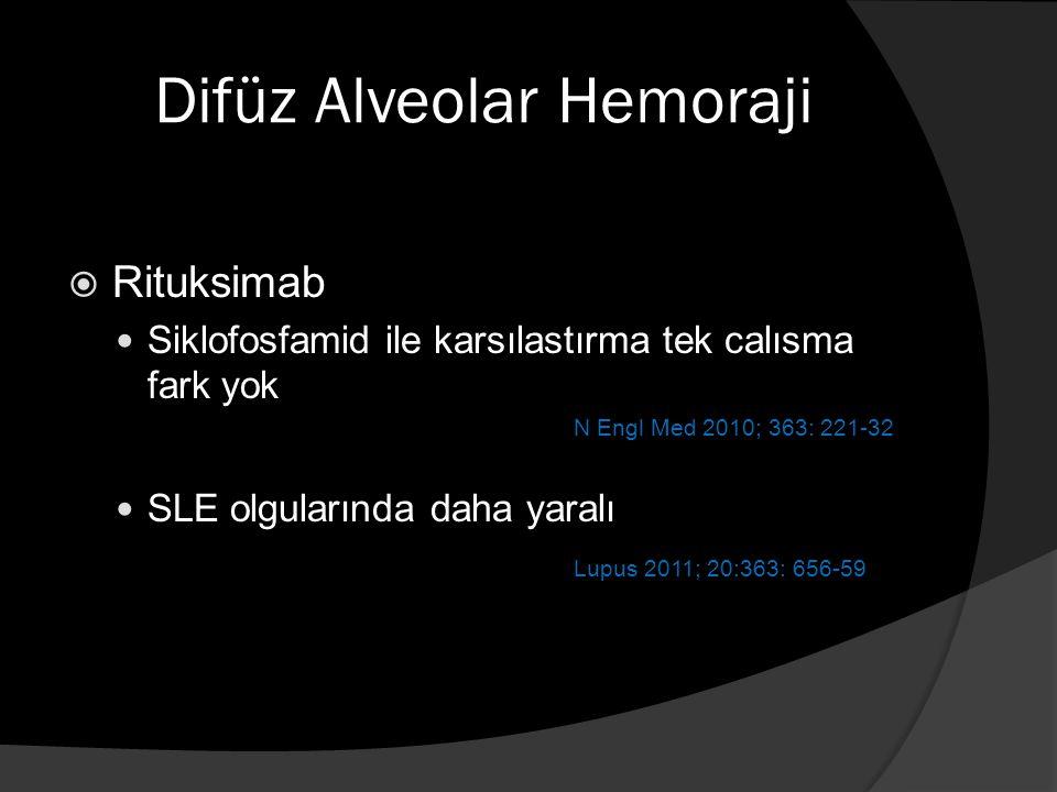 Difüz Alveolar Hemoraji  Rituksimab Siklofosfamid ile karsılastırma tek calısma fark yok N Engl Med 2010; 363: 221-32 SLE olgularında daha yaralı Lupus 2011; 20:363: 656-59