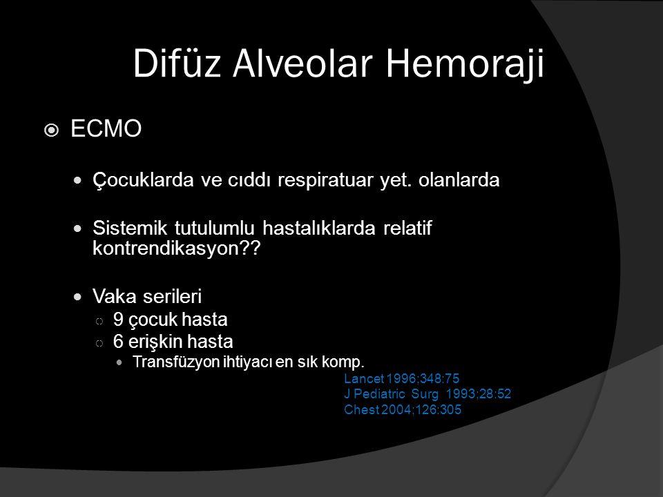Difüz Alveolar Hemoraji  ECMO Çocuklarda ve cıddı respiratuar yet.