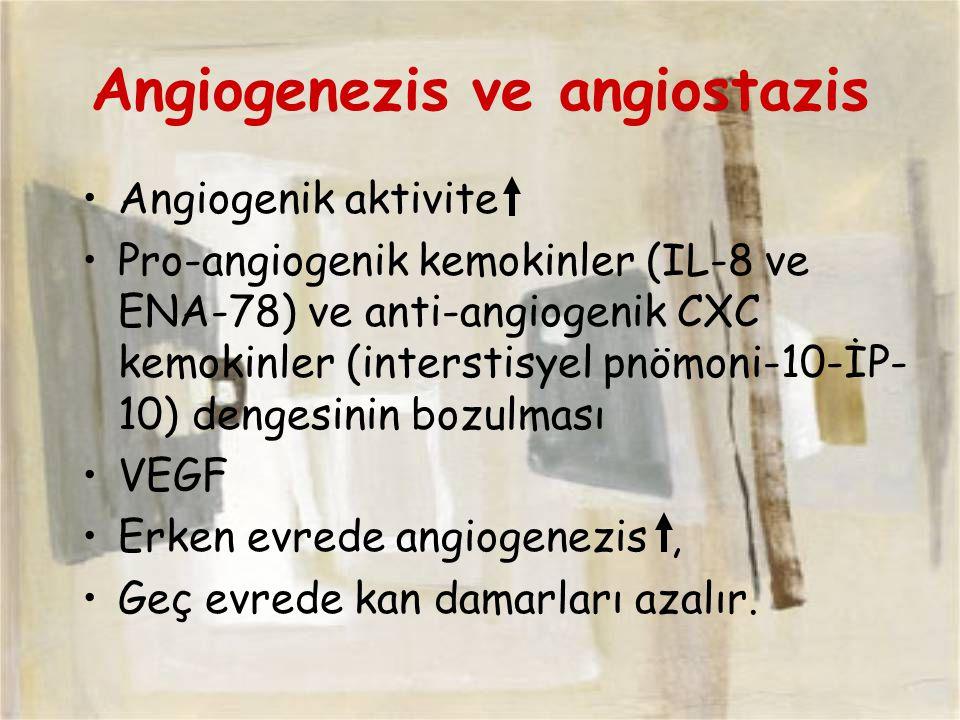 Angiogenezis ve angiostazis Angiogenik aktivite Pro-angiogenik kemokinler (IL-8 ve ENA-78) ve anti-angiogenik CXC kemokinler (interstisyel pnömoni-10-