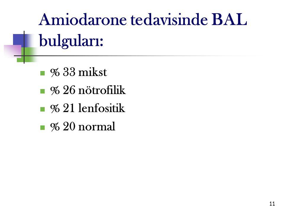 11 Amiodarone tedavisinde BAL bulguları: % 33 mikst % 26 nötrofilik % 21 lenfositik % 20 normal