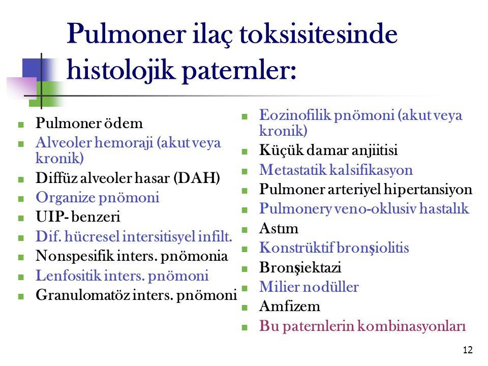 12 Pulmoner ilaç toksisitesinde histolojik paternler: Pulmoner ödem Alveoler hemoraji (akut veya kronik) Diffüz alveoler hasar (DAH) Organize pnömoni