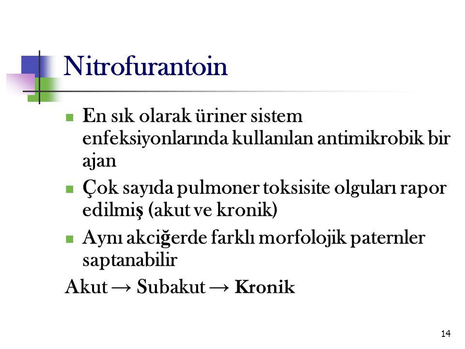 14 Nitrofurantoin En sık olarak üriner sistem enfeksiyonlarında kullanılan antimikrobik bir ajan Çok sayıda pulmoner toksisite olguları rapor edilmi ş