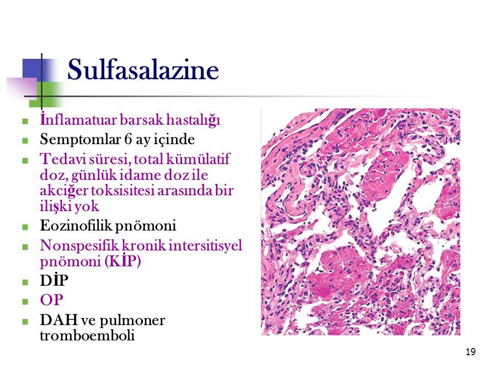 19 Sulfasalazine İ nflamatuar barsak hastalı ğ ı Semptomlar 6 ay içinde Tedavi süresi, total kümülatif doz, günlük idame doz ile akci ğ er toksisitesi