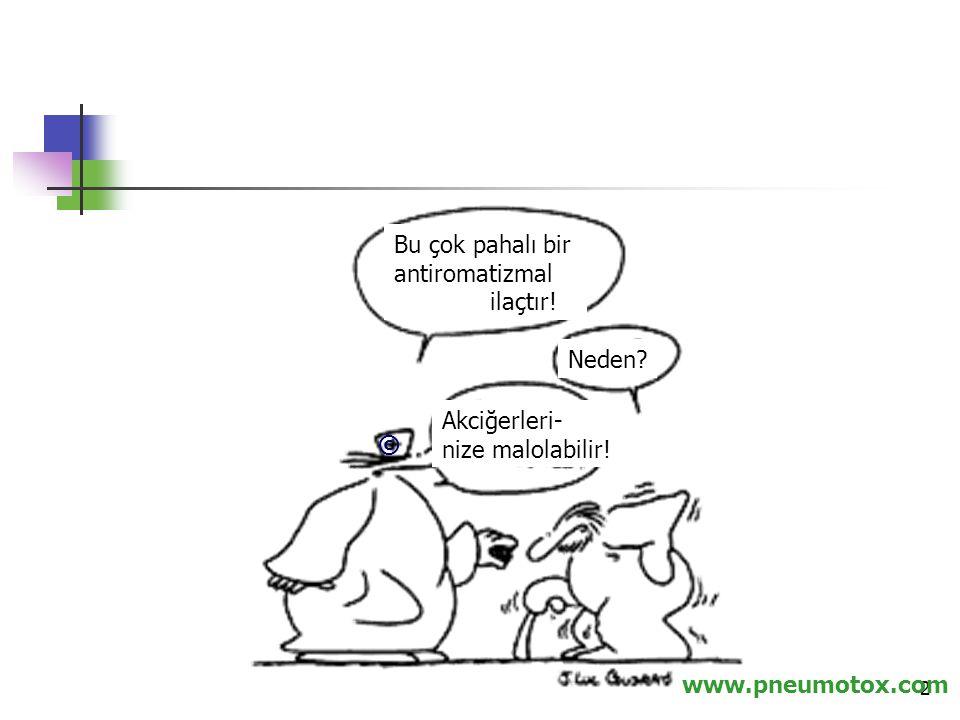 2 www.pneumotox.com © Bu çok pahalı bir antiromatizmal ilaçtır! Neden? Akciğerleri- nize malolabilir!
