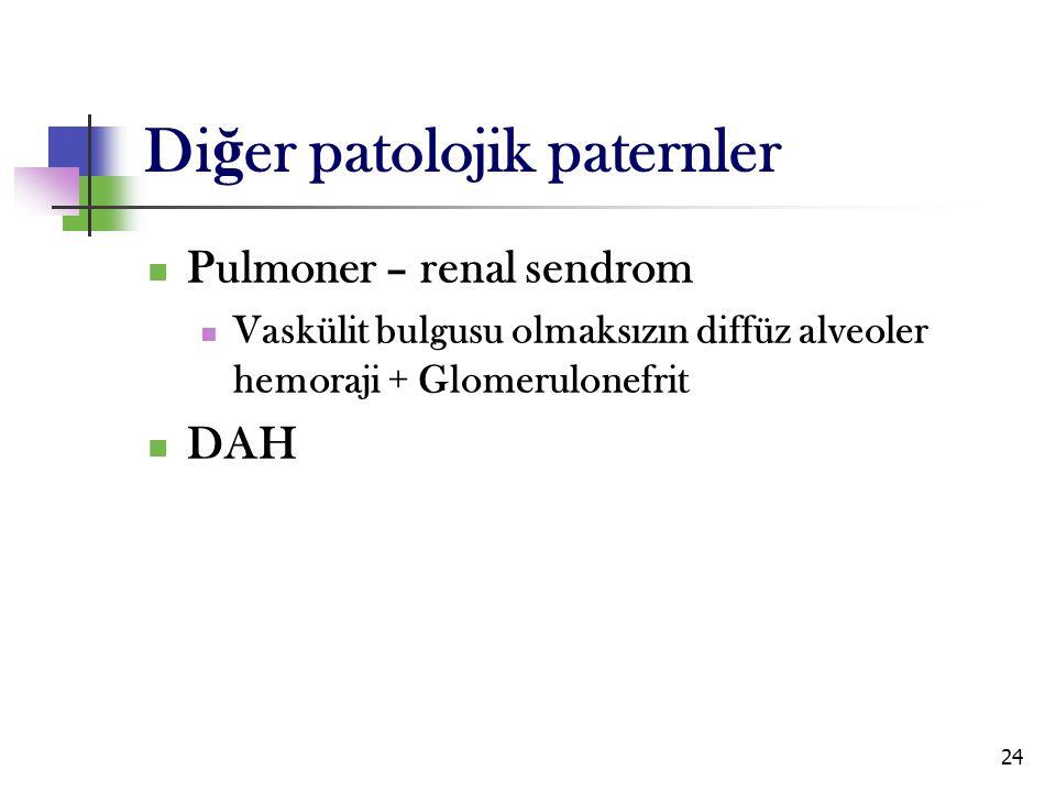 24 Pulmoner – renal sendrom Vaskülit bulgusu olmaksızın diffüz alveoler hemoraji + Glomerulonefrit DAH Di ğ er patolojik paternler