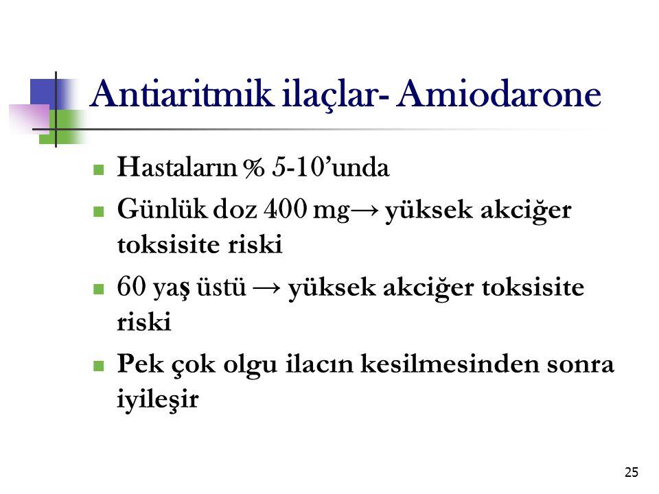 25 Antiaritmik ilaçlar- Amiodarone Hastaların % 5-10'unda Günlük doz 400 mg → yüksek akciğer toksisite riski 60 ya ş üstü → yüksek akciğer toksisite r