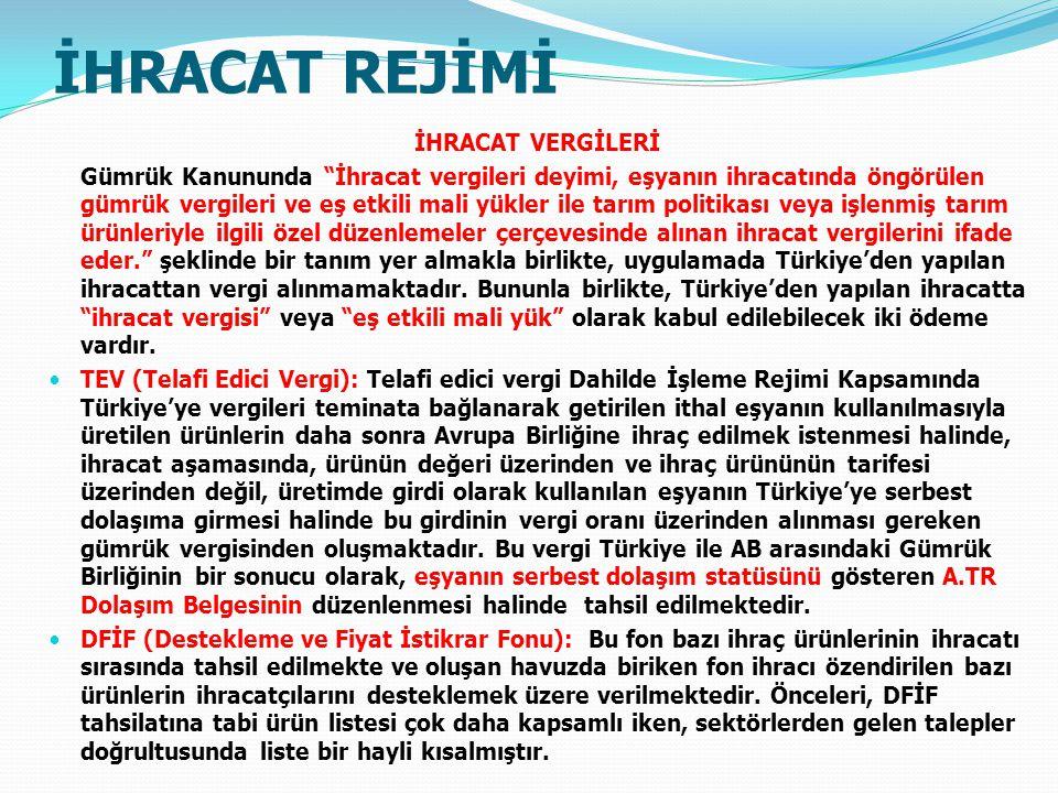 İHRACAT REJİMİ İHRACAT VERGİLERİ Gümrük Kanununda İhracat vergileri deyimi, eşyanın ihracatında öngörülen gümrük vergileri ve eş etkili mali yükler ile tarım politikası veya işlenmiş tarım ürünleriyle ilgili özel düzenlemeler çerçevesinde alınan ihracat vergilerini ifade eder. şeklinde bir tanım yer almakla birlikte, uygulamada Türkiye'den yapılan ihracattan vergi alınmamaktadır.