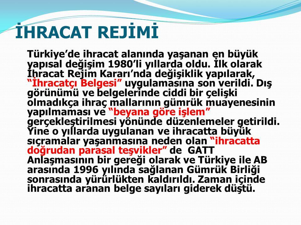 İHRACAT REJİMİ Türkiye'de ihracat alanında yaşanan en büyük yapısal değişim 1980'li yıllarda oldu.
