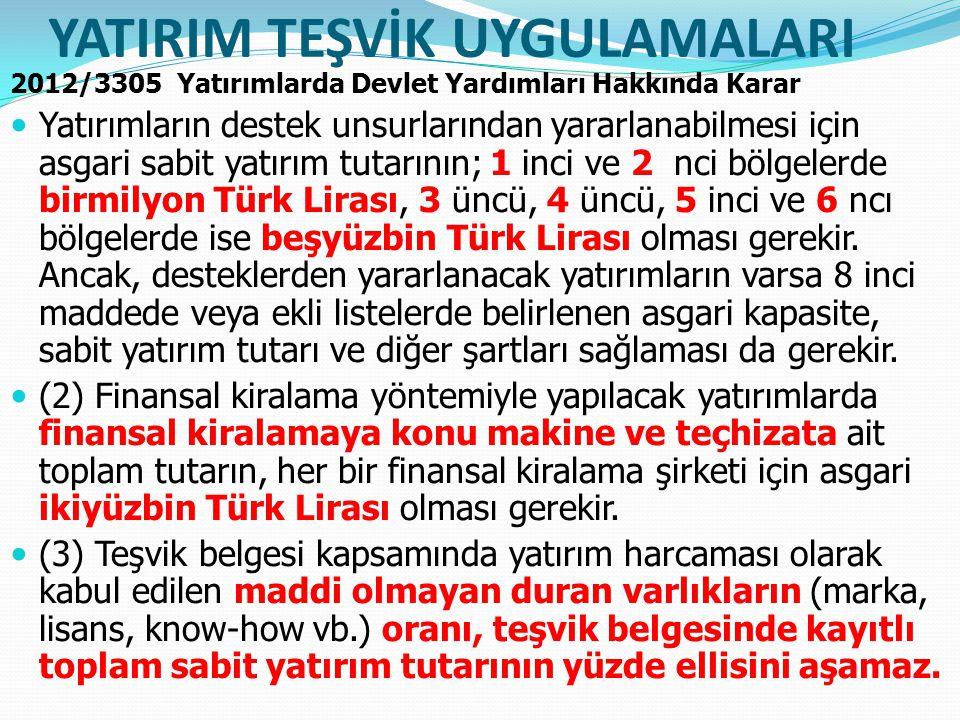 YATIRIM TEŞVİK UYGULAMALARI 2012/3305 Yatırımlarda Devlet Yardımları Hakkında Karar Yatırımların destek unsurlarından yararlanabilmesi için asgari sabit yatırım tutarının; 1 inci ve 2 nci bölgelerde birmilyon Türk Lirası, 3 üncü, 4 üncü, 5 inci ve 6 ncı bölgelerde ise beşyüzbin Türk Lirası olması gerekir.