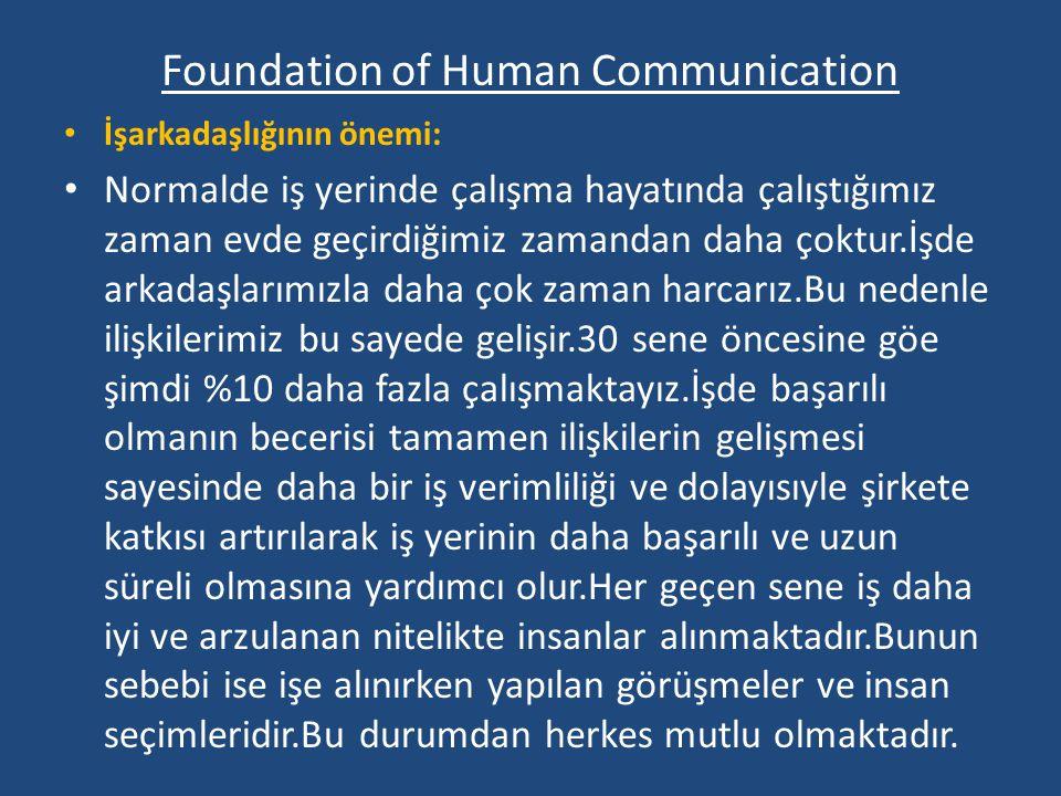 Foundation of Human Communication İşarkadaşlığının önemi: Normalde iş yerinde çalışma hayatında çalıştığımız zaman evde geçirdiğimiz zamandan daha çoktur.İşde arkadaşlarımızla daha çok zaman harcarız.Bu nedenle ilişkilerimiz bu sayede gelişir.30 sene öncesine göe şimdi %10 daha fazla çalışmaktayız.İşde başarılı olmanın becerisi tamamen ilişkilerin gelişmesi sayesinde daha bir iş verimliliği ve dolayısıyle şirkete katkısı artırılarak iş yerinin daha başarılı ve uzun süreli olmasına yardımcı olur.Her geçen sene iş daha iyi ve arzulanan nitelikte insanlar alınmaktadır.Bunun sebebi ise işe alınırken yapılan görüşmeler ve insan seçimleridir.Bu durumdan herkes mutlu olmaktadır.