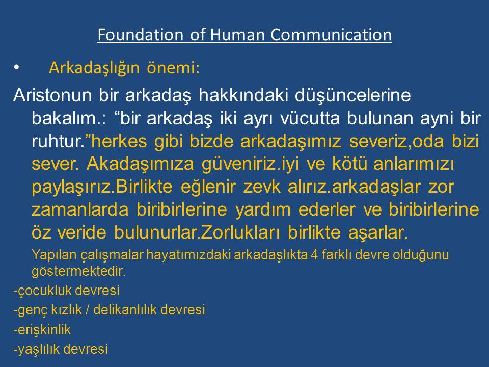 Foundation of Human Communication Arkadaşlığın önemi: Aristonun bir arkadaş hakkındaki düşüncelerine bakalım.: bir arkadaş iki ayrı vücutta bulunan ayni bir ruhtur. herkes gibi bizde arkadaşımız severiz,oda bizi sever.