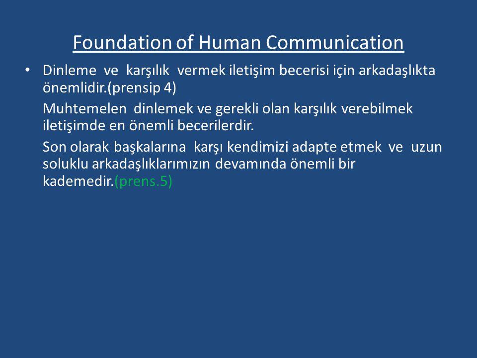 Foundation of Human Communication Dinleme ve karşılık vermek iletişim becerisi için arkadaşlıkta önemlidir.(prensip 4) Muhtemelen dinlemek ve gerekli olan karşılık verebilmek iletişimde en önemli becerilerdir.